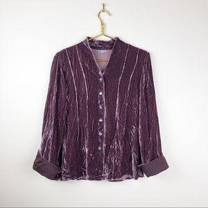J. Jill Crushed Velvet Silk Blend V-neck Blouse